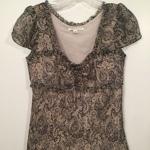 Banana Republic Women Black Cream 100% Silk Top S